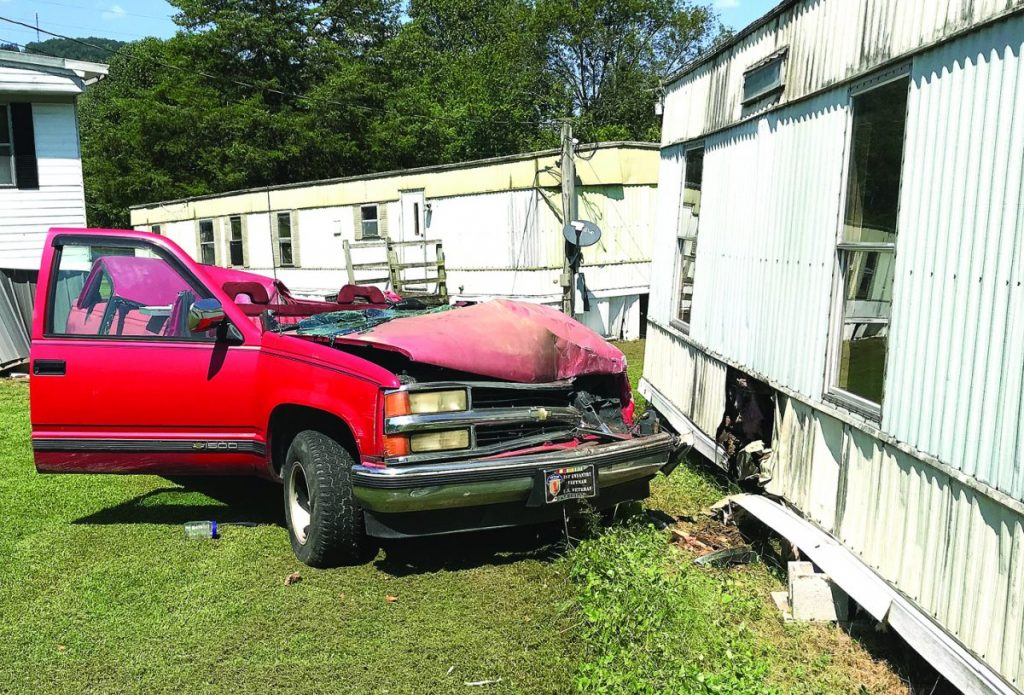 Truck rams mobile home